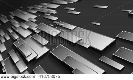 Abstract dark grey tech geometric rectangles motion background. Video animation Ultra HD 4K 3840x2160