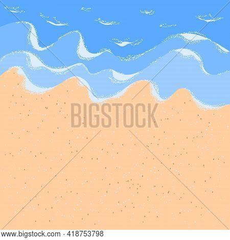 Sandy Ocean Shore For Wallpaper Design. White Foam Wave Sandy Seashore Top View. Beach Sand Sea Wate