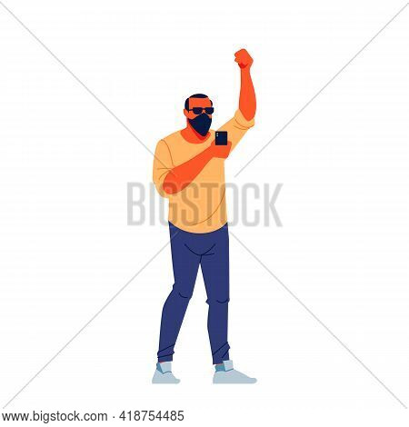 Protesting Man With Black Mask, Sunglasses And Phone Marching In Protest, Screaming Angry, Protestin