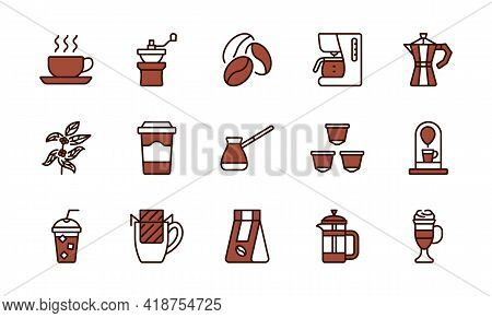 Coffee Equipment Line Icon Set Brown Color. Coffee To Go, Mill, Drip Pack, Cezve, Pot, Beans, Capsul