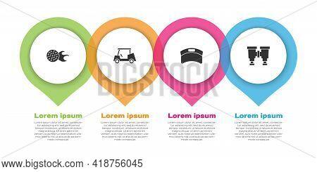 Set Golf Ball, Car, Sun Visor Cap And Binoculars. Business Infographic Template. Vector