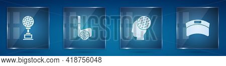 Set Award Cup With Golf, Golf Club Ball, And Sun Visor Cap. Square Glass Panels. Vector