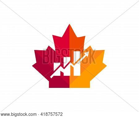 Maple Financial Logo Design. Canadian Financial Logo. Red Maple Leaf With Financial Arrow Concept Ve