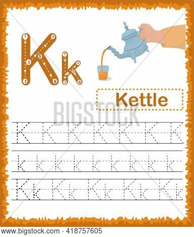 Vector Illustration Of Exercises With Cartoon Vocabulary For Kids. Colorful Letter K Uppercase And L