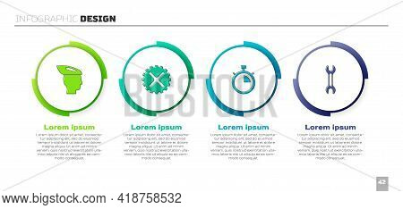 Set Bicycle Helmet, Sprocket Crank, Stopwatch And Wrench Spanner. Business Infographic Template. Vec