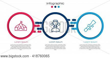 Set Line Tourist Tent, African Tribe Male And Sniper Optical Sight. Business Infographic Template. V