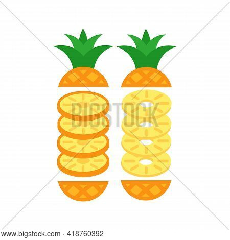 Pineapple Peeled In Round Slices. Vector Isolated On White.