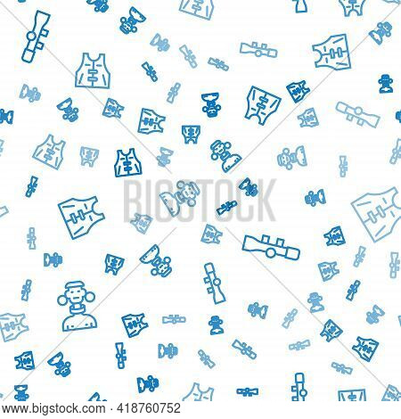 Set Line African Tribe Male, Sniper Optical Sight And Hunting Jacket On Seamless Pattern. Vector