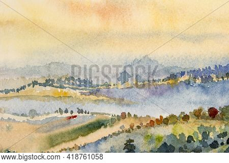 Watercolor Landscape Paintings Colorful Mountain Range And Sky Cloud In Abstract Background, Paintin
