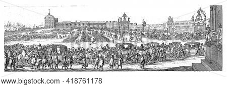 The parade in Lisbon prior to Catherine of Braganza's departure to England. In the background the royal palace, in the middle soldiers and spectators.