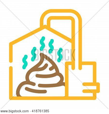 Method Of Obtaining From Feces Biogas Color Icon Vector. Method Of Obtaining From Feces Biogas Sign.