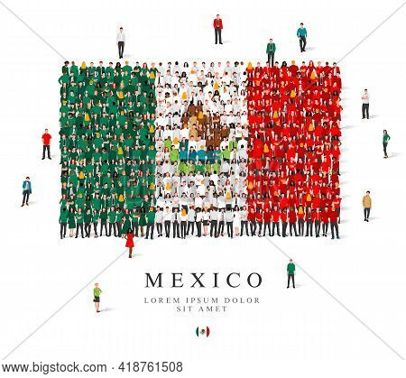 A Large Group Of People Are Standing In Green, White And Red Robes, Symbolizing The Flag Of Mexico.
