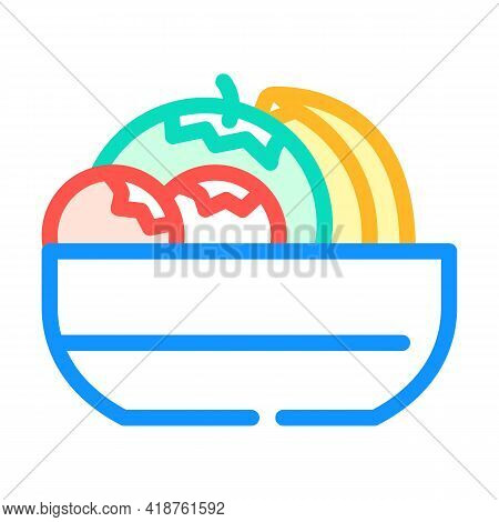 Fruits And Berries In Plate Buffet Color Icon Vector. Fruits And Berries In Plate Buffet Sign. Isola
