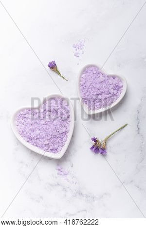 Lilac Spa Sea Salt On Marble Background. Daily Bodycare Concept, Natural Bath Products - Image