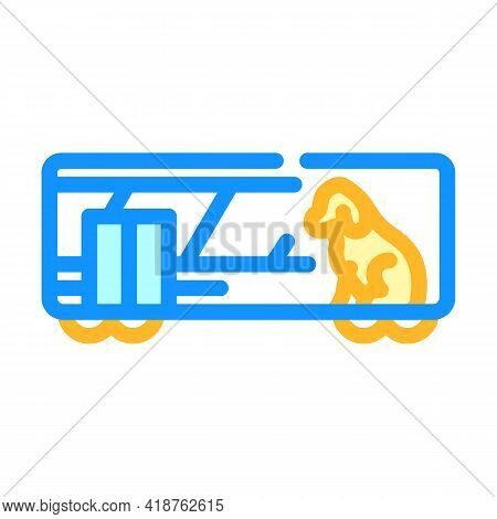 Animal Carriage Railway Service Color Icon Vector. Animal Carriage Railway Service Sign. Isolated Sy
