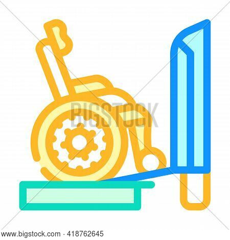 Ramp To Train Color Icon Vector. Ramp To Train Sign. Isolated Symbol Illustration