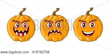 Wicked Pumpkin For Halloween. Vector Set Illustration.