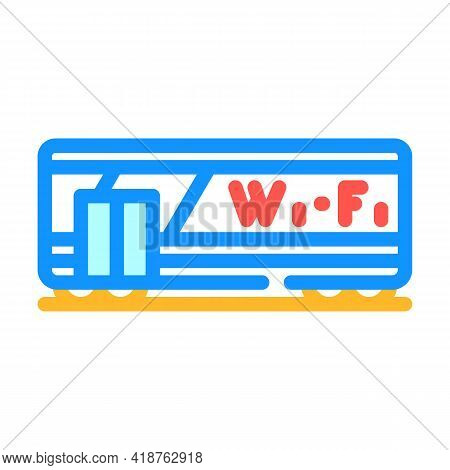 Wagon With Wifi Color Icon Vector. Wagon With Wifi Sign. Isolated Symbol Illustration