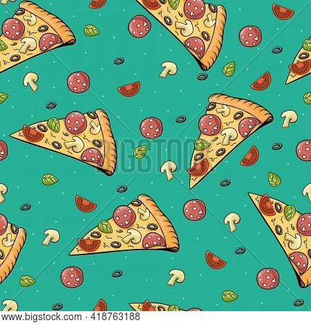 Pizza Slice Seamless Vector Pattern. Colored Pizza Slices In Sketch Illustration Style, On Turquoise