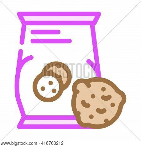 Oatmeal Cookies Snack Color Icon Vector. Oatmeal Cookies Snack Sign. Isolated Symbol Illustration
