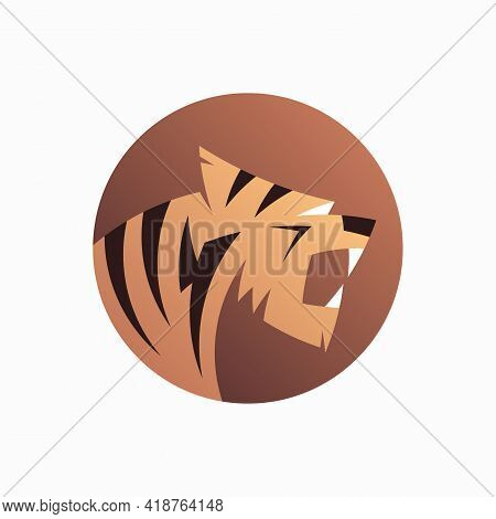 Tiger Logo Design. Vector Illustration Of Abstract Roaring Tiger Isolated On White Background