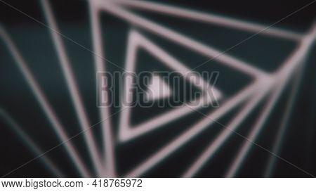 Triangular Spiral On Black Background. Animation. Triangular Pattern Is Repeated In Spiral. Undulati