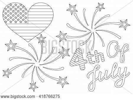 Coloring Page With A Festive Quote, Us Flag In Heart Shape, Firework And Stars For 4th Of July Ameri