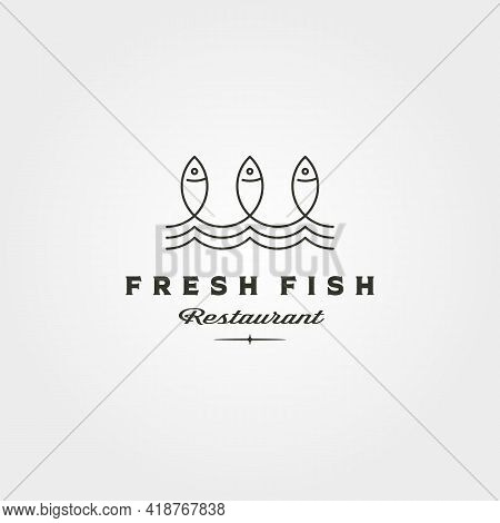 Fresh Fish And Wave Line Logo Vector Symbol Minimalist Illustration Design