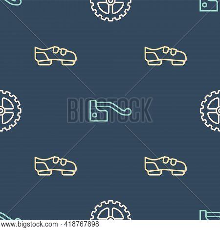 Set Line Bicycle Sprocket Crank, Shoes And Brake On Seamless Pattern. Vector