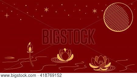Traditional Asian Background, Lotus Flowers, Moon, Gold On Red, Copy Space. Oriental, Eastern Style