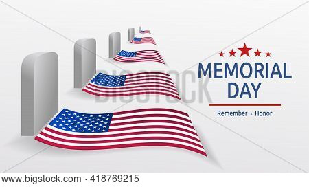 Usa Memorial Day Card. Headstones With Flags On A White Background. Grave Of American Soldiers. Memo