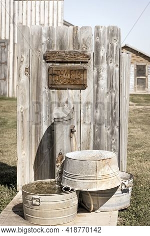 Antique Washtubs By The Old Historic Western Hotel, Western Usa