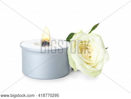 Aromatic Candle With Wooden Wick And Beautiful Flower On White Background