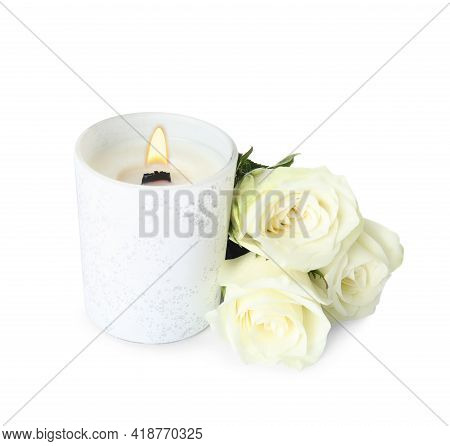 Aromatic Candle With Wooden Wick And Beautiful Flowers On White Background
