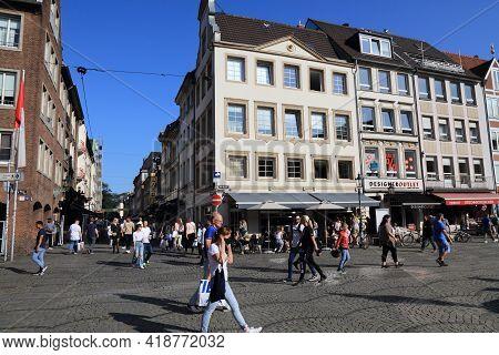 Dusseldorf, Germany - September 19, 2020: People Visit Markt Square (marktplatz) In Old Town Dusseld