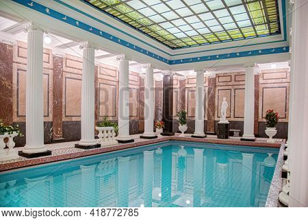 Moscow, Russia - December 19, 2017: Famous Sandunovskiyel Bath Swimming Pool in Moscow. Wellness complex of Sanduny banya, pools and saunas