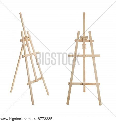 Empty Wooden Easels On White Background, Collage