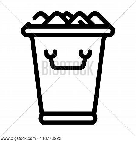Ice Bucket Bartender Line Icon Vector. Ice Bucket Bartender Sign. Isolated Contour Symbol Black Illu