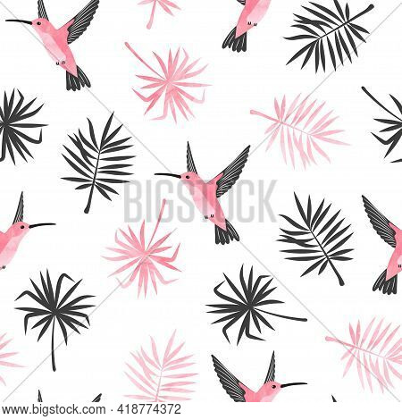 Hummingbirds And Exotic Tropical Leaves Pattern. Seamless Tropic Illustration.