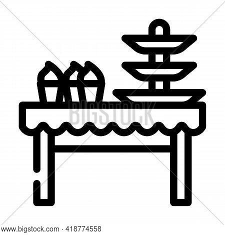 Dessert Table Buffet Line Icon Vector. Dessert Table Buffet Sign. Isolated Contour Symbol Black Illu