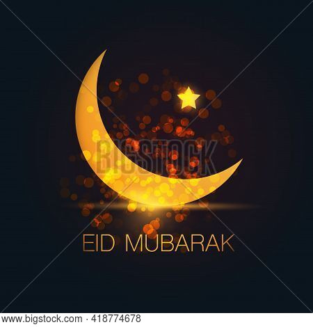 Ramadan Kareem Or Eid Mubarak - Dark Greeting Card Design For Muslim Community Festival With Night S