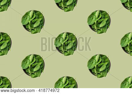 Seamless Food Pattern From Bowls Of Fresh Green Spinach. Healthy Plant Based Diet Vegan Lifestyle Co