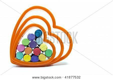 Dry Oil Pastels Inside Of The Heart Shape