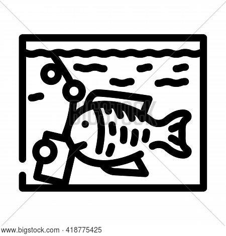 Aquarium With Fish Line Icon Vector. Aquarium With Fish Sign. Isolated Contour Symbol Black Illustra