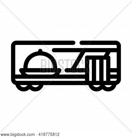 Wagon Restaurant Line Icon Vector. Wagon Restaurant Sign. Isolated Contour Symbol Black Illustration