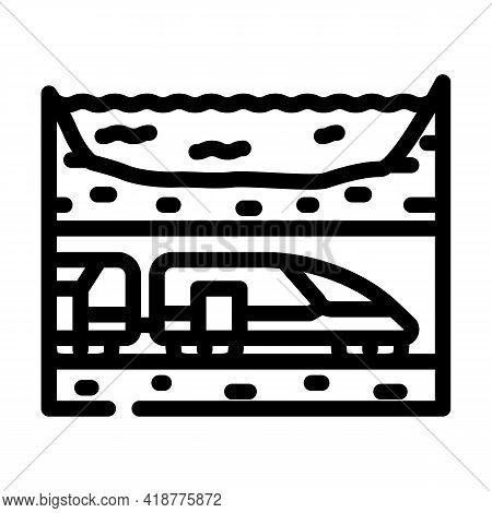 Underwater Railway Tunnel Line Icon Vector. Underwater Railway Tunnel Sign. Isolated Contour Symbol