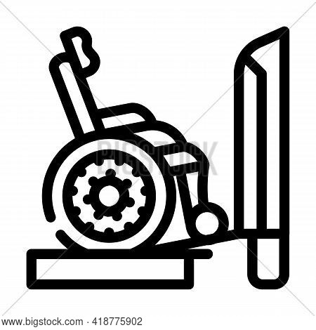 Ramp To Train Line Icon Vector. Ramp To Train Sign. Isolated Contour Symbol Black Illustration