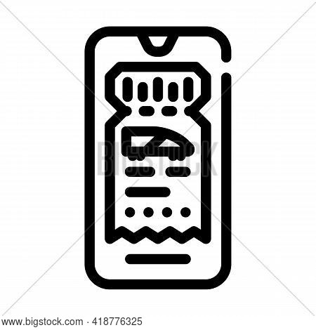 Electronic Ticket E-ticket Line Icon Vector. Electronic Ticket E-ticket Sign. Isolated Contour Symbo