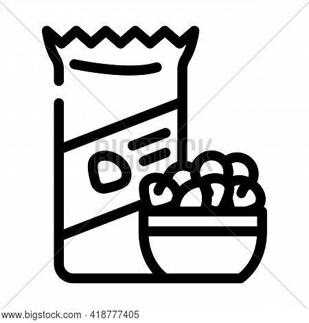 Nuts Snack Line Icon Vector. Nuts Snack Sign. Isolated Contour Symbol Black Illustration