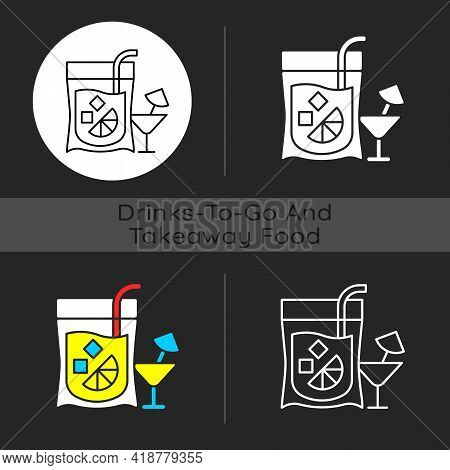 Cocktail To Go Dark Theme Icon. Alcoholic Beverage. Mixed Drink. Restaurant Delivery. Composition Wi